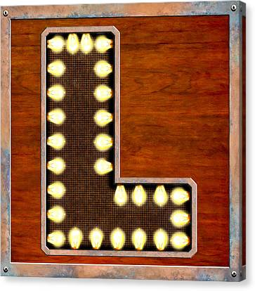 Retro Marquee Lighted Letter L Canvas Print by Mark E Tisdale