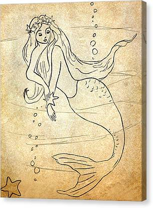 Retro Mermaid Canvas Print