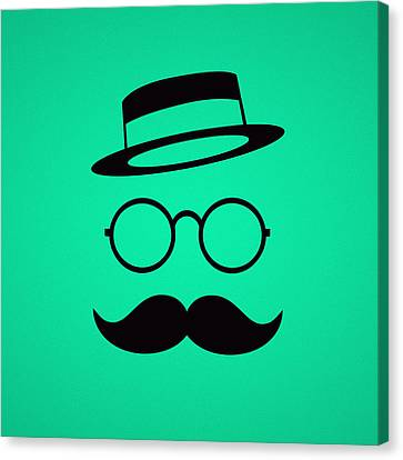 Retro Minimal Vintage Face With Moustache And Glasses Canvas Print