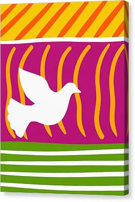Fuschia Canvas Print - Retro Minimalist Bird by Marlene Kaltschmitt