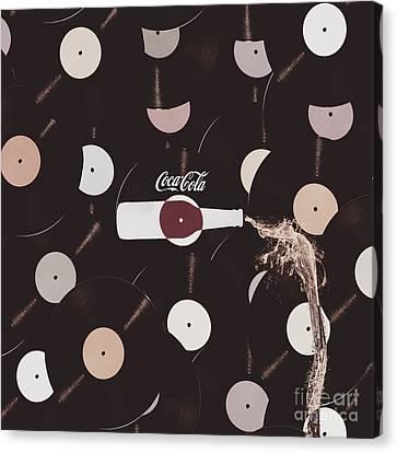 Retro Music Diner Background Canvas Print