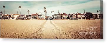 Retro Newport Beach Panorama At 11th Street And Balboa Canvas Print by Paul Velgos