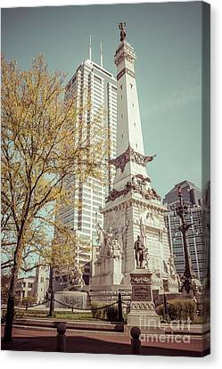 Retro Picture Of Indianapolis Soldiers And Sailors Monument  Canvas Print by Paul Velgos