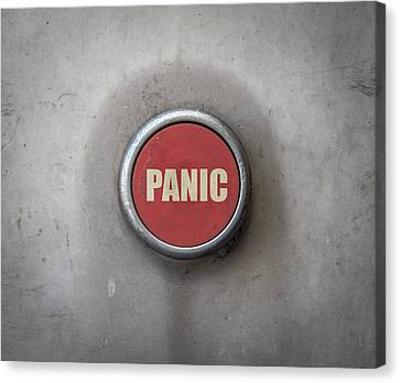 Retro Red Industrial Panic Button Canvas Print