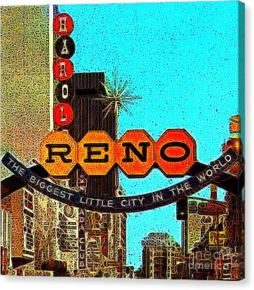 Retro Reno Nevada The Biggest Little City In The World 20130505v1 Canvas Print by Wingsdomain Art and Photography