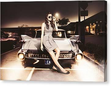 Retro Sixties Pinup Girl On Vintage Car Canvas Print