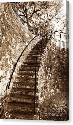 Retro Stairs In Savannah Canvas Print by John Rizzuto