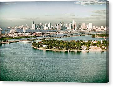 Canvas Print featuring the photograph Retro Style Miami Skyline And Biscayne Bay by Gary Dean Mercer Clark
