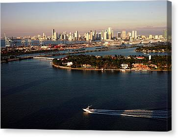 Canvas Print featuring the photograph Retro Style Miami Skyline Sunrise And Biscayne Bay by Gary Dean Mercer Clark