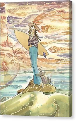 Retro Surfer Canvas Print