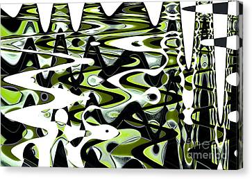 Retro Waves Abstract - Lime Green Canvas Print by Natalie Kinnear