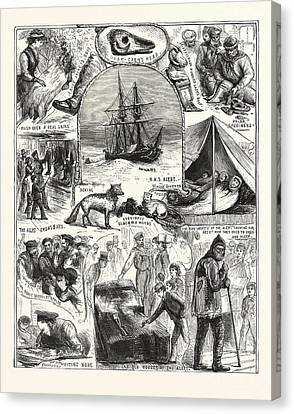 Return Of The Arctic Expedition, Sketches On Board Canvas Print by New Zealand School