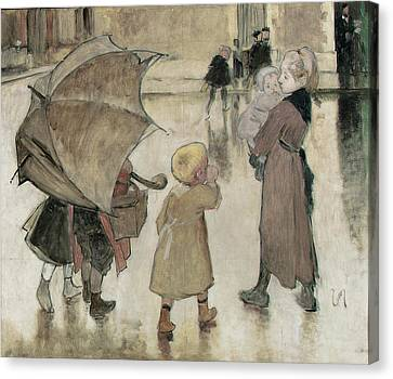 Return To School Oil On Panel Canvas Print by Henri Jules Jean Geoffroy