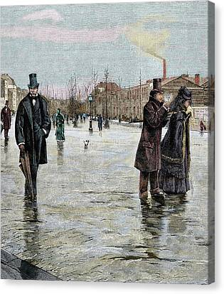 Returning From A Funeral Canvas Print by Prisma Archivo