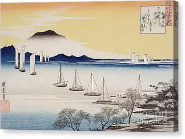 Returning Sails At Yabase Canvas Print by Hiroshige