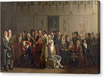 Reunion Of Artists In The Studio Of Isabey, 1798 Oil On Canvas Canvas Print