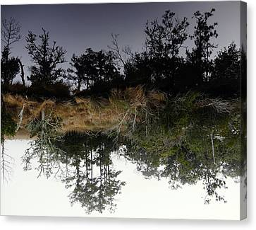 Reverse Reflection On A Crab Fishermans Canal Canvas Print