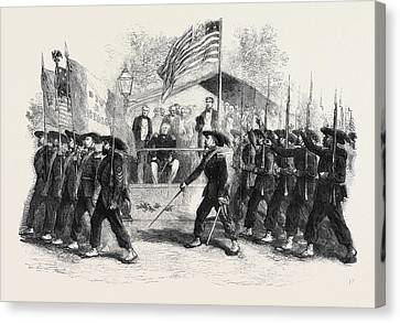 Review Of Federal Troops On The 4th Of July By President Canvas Print by English School