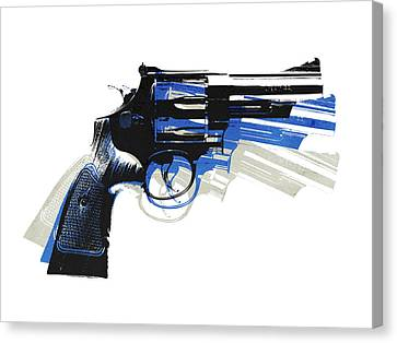 Pistol Canvas Print - Revolver On White - Right Facing by Michael Tompsett