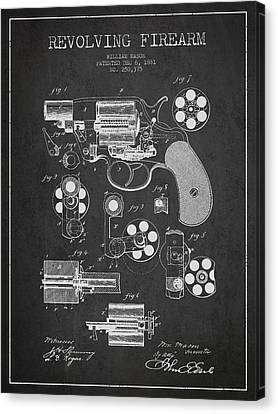 Revolving Firearm Patent Drawing From 1881 - Dark Canvas Print by Aged Pixel
