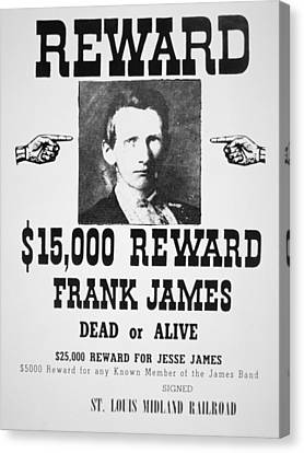 Reward Poster For Frank James Canvas Print by American School