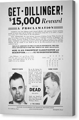 Reward Poster For John Dillinger Canvas Print by American School
