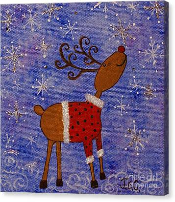 Canvas Print featuring the painting Rex The Reindeer by Jane Chesnut