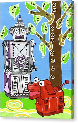 Rex The Robot Dog And Robot Friend Canvas Print by Lynnda Rakos