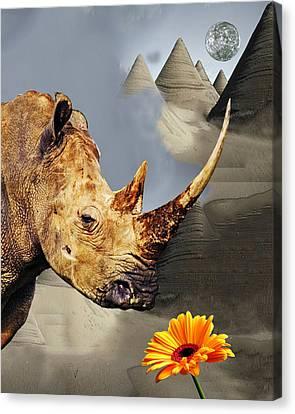 Foggy Day Digital Art Canvas Print - Rhino With Moon by Bruce Iorio