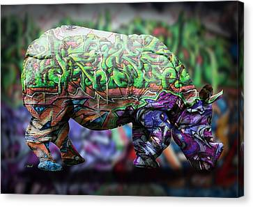 Kids Room Art Canvas Print - Rhino4 by Mark Ashkenazi