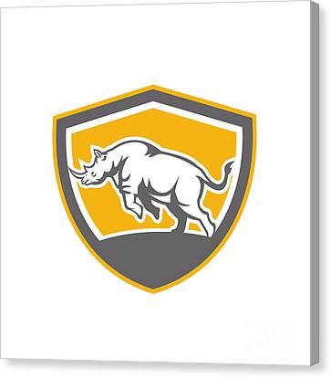 Rhinoceros Charging Side Shield Retro Canvas Print by Aloysius Patrimonio