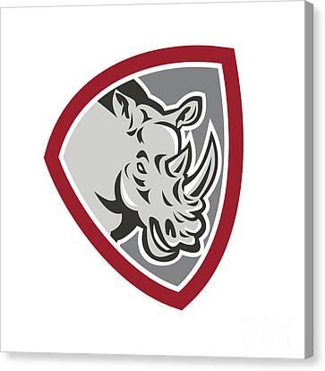 Rhinoceros Head Side Shield Canvas Print by Aloysius Patrimonio