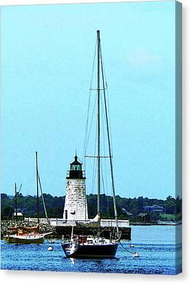 Sail Boat Canvas Print - Rhode Island - Boats Near Lighthouse Bristol Ri by Susan Savad
