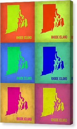 Rhode Island Pop Art Map 1 Canvas Print by Naxart Studio