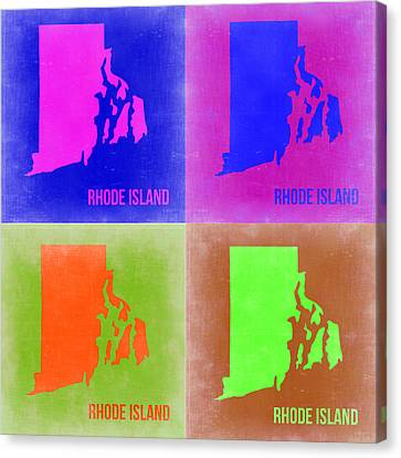 Rhode Island Pop Art Map 2 Canvas Print by Naxart Studio