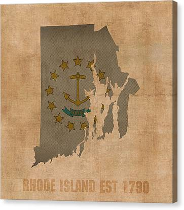 Rhode Island Map Canvas Print - Rhode Island State Flag Map Outline With Founding Date On Worn Parchment Background by Design Turnpike
