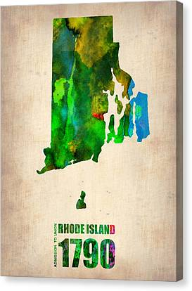 Rhode Island Map Canvas Print - Rhode Island Watercolor Map by Naxart Studio