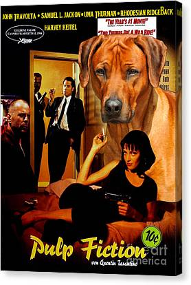 Ridgeback Canvas Print - Rhodesian Ridgeback Art Canvas Print - Pulp Fiction Movie Poster by Sandra Sij