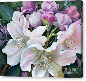 Canvas Print featuring the painting Rhododendron by Marta Styk