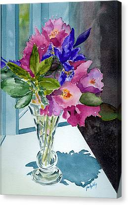Rhododendrons And Iris Canvas Print by Jo Appleby