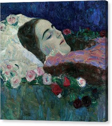 Ria Munk On Her Deathbed Canvas Print by Gustav Klimt