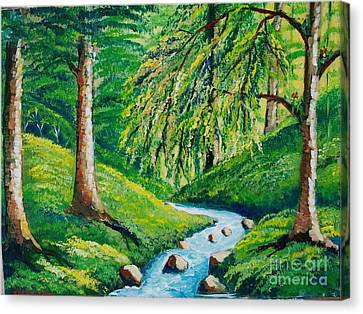 Riachuelo En El Bosque Tropical Canvas Print