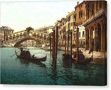 Rialto Bridge Venice Italy Refurbished Canvas Print by L Brown