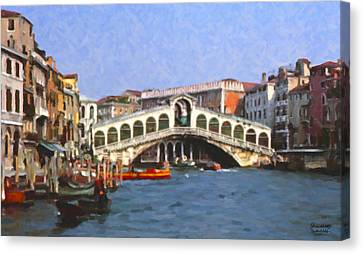 Rialto Bridge Venice Canvas Print by Spyder Webb