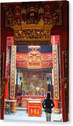 Rich Decoration In Chinese Temple - Sze Yah Temple - Kuala Lumpur - Malaysia Canvas Print by David Hill