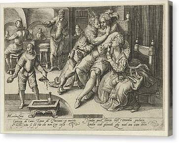 Rich Man With Two Whores, Anonymous Canvas Print by Anonymous