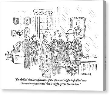 Rich Men In A Glamorous Men's Club Discuss Canvas Print by Robert Mankoff