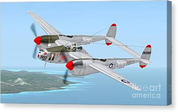 Richard Bong's P-38 Lightning Marge Canvas Print by Walter Colvin