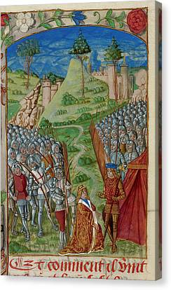 Richard I Homage To Philip Of Normandy Canvas Print by British Library