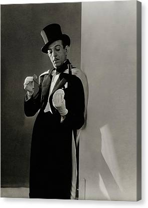 Man Looking Down Canvas Print - Richard Pitchford Doing A Card Trick by Lusha Nelson